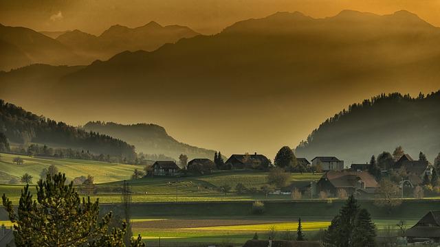 mlha nad vesnicí