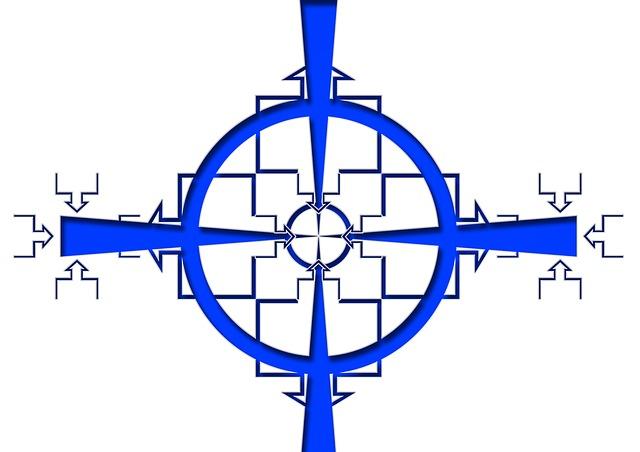 Modrý terč mířící na různé bloky čtverců